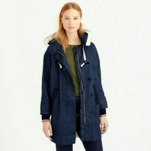 J Crew Resin-Coated Cotton Twill Rain Jacket